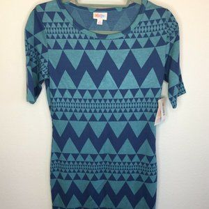 LuLaRoe Julia Dress Turquoise & Navy Zig Zag Chevr